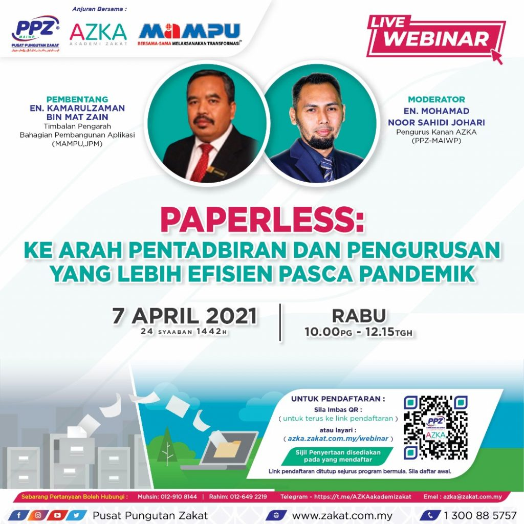 AZKA Live Webinar: Paperless Kearah Pentadbiran dan Pengurusan Yang lebih Efisien Pasca Pandemik
